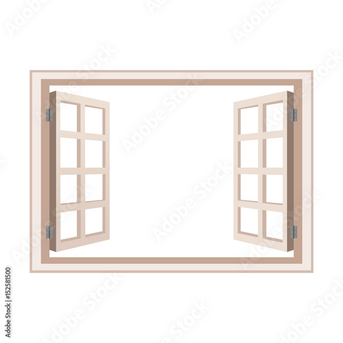 open window frame wooden design vector illustration - 152581500