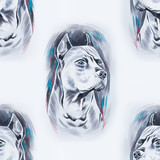 Seamless pattern of a beautiful dog on a white background.
