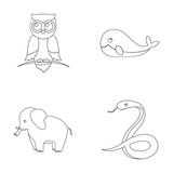 Owl, elephantism,snake, whale.Animal set collection icons in outline style vector symbol stock illustration web.