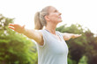 Leinwanddruck Bild - Mature woman yoga exercise