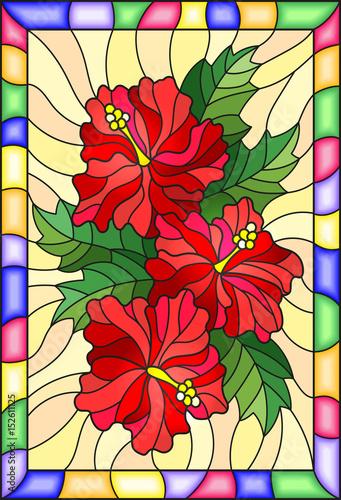 ilustracja-w-stylu-witrazu-z-kwiatow-i-lisci-hibiskusa-na-zoltym-tle-z-jasnym-ramki