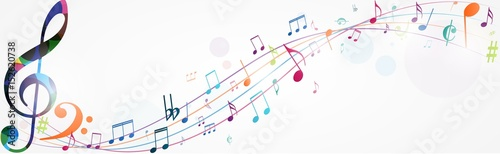 Fototapeta Colorful music notes background
