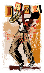 saxophone player on grunge background © Isaxar