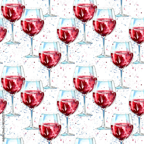 Seamless pattern of a glass red wine and splash. Picture of a alcoholic drink.Beverage.Watercolor hand drawn illustration.White background. - 152652379