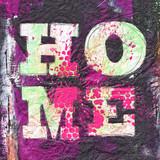 Wort HOME auf abstrakter Malerei