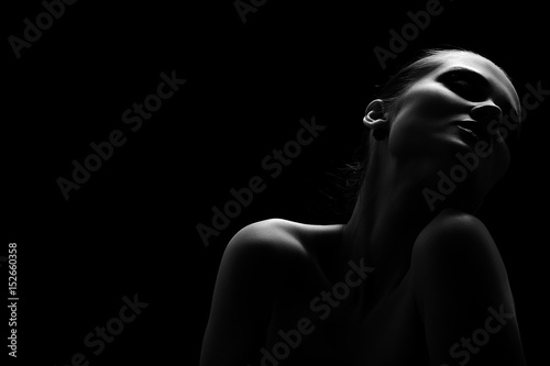 beautiful totpless woman with closed eyes on black background monochrome Poster