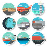 Logistics and worldwide shipping round badge set. Air, road, marine and railway transportation icons. Global freight shipping and cargo delivery, postal service and distribution vector illustration. - 152660963