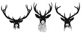 Three deers heads silhouettes