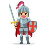 Cute little brave knight boy holding sword and shield