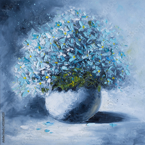 Original oil painting on canvas - A bouquet of blue flowers in a white round vase - Modern Art © shvets_tetiana