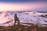 Hiker look to the horizon