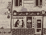 urban landscape with exterior of cafe and love couple on the background of manuscript with blots. Banner for coffee house with old building in retro style