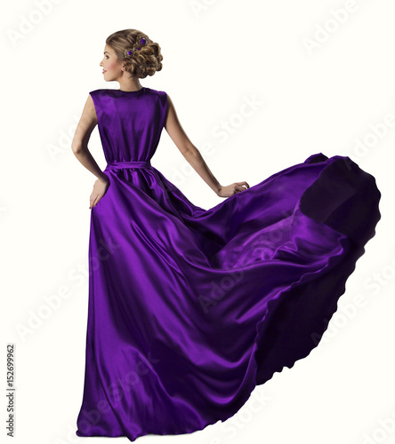 Woman Purple Dress, Fashion Model in Silk Gown, Waving Flying Fabric, Isolated over White Background