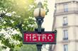 Retro subway sign in Paris, France