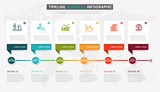 Vector infographics timeline design template with 3D paper label, integrated circles background. Timeline infographic design vector and marketing icons. - 152701378