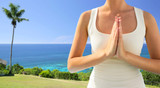close up of woman doing yoga outdoors
