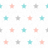 Doodle star seamless pattern background.