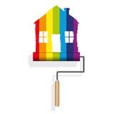 maison - décoration - peinture - déco - bricolage - arc en ciel - rouleau de peinture - 152722593