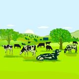 Kühe auf der Weide illustration