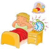 Vector illustration of a little child woke up in the morning from ringing the alarm clock and rubbing his eyes with his hands. Print, template, design element