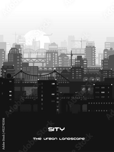 Monochrome city landscape
