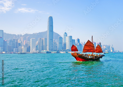 View of Hong Kong skyline with a red Chinese sailboat passing on the Victoria Harbor in a sunny day