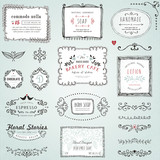 Fototapety Hand drawn labels, frames, flowers and floral dividers. Good for package design, promo signs and logo design.Vector illustration.