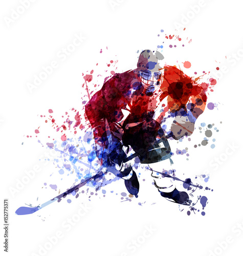 colorful illustration of hockey player