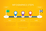 Infographics design with start, and finish goal flags. Infographic shows route steps on the road with differently colored location markers. Graphic design in flat style. - 152788314