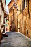 Narrow town street in Pienza, Italy