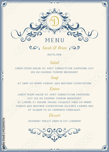 Ornate classic menu design in vintage style. Vector template.