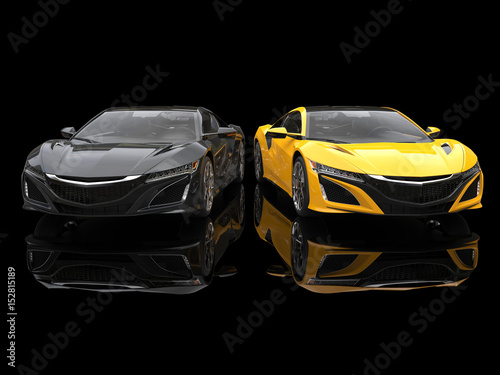 Black and yellow super sports cars side by side in a black showroom