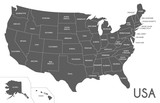 USA Map vector illustration isolated on white background. Editable and clearly labeled layers. - 152850135