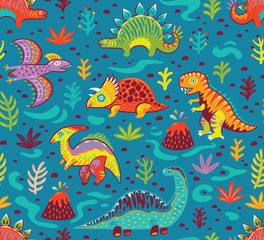 Seamless pattern with cartoon dinosaurs