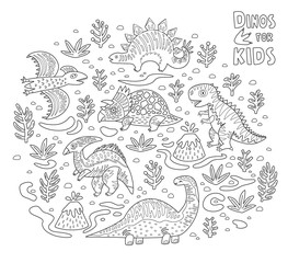 Cartoon dinosaurs collection in outline. Vector illustration