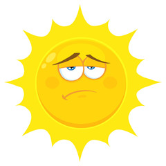 Sadness Yellow Sun Cartoon Emoji Face Character With Expression. Illustration Isolated On White Background