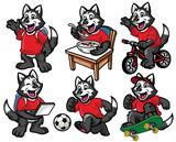 cartoon character set of cute little siberian husky dog