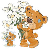 Vector illustration of a brown teddy bear holding a bouquet of flowers in his paws. Print, template, design element for greeting cards - 152934124