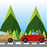 car and truck over rood with mountain landscape, vector illustration
