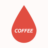 Isolated blood drop with    the text COFFEE