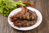 Raw big tiger prawn