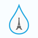 Isolated water drop with   the Eiffel tower