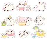 Set of cute pandas in kawaii style - 152958767
