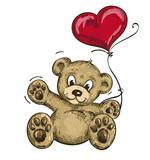 Winkendes Bärchen mit Herzballon, Zeichnung