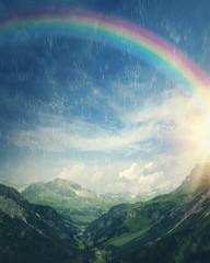 Rainbow at the rainy day