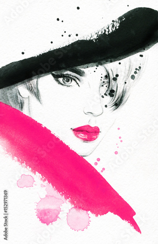 Beautiful woman in hat. Fashion illustration. Watercolor painting