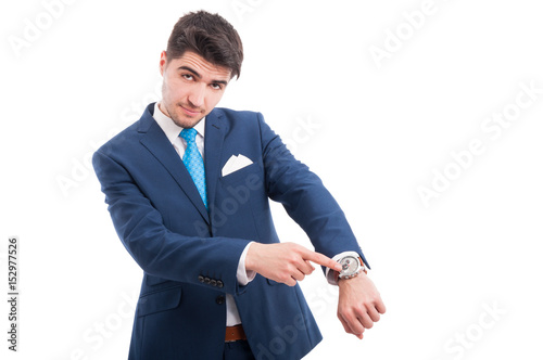 Busy lawyer pointing his wrist watch