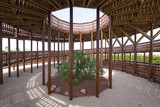 inside view of wooden lookout tower, with circular ramp, in public park named Felipe VI or Forest Park Valdebebas, in Madrid city, Spain