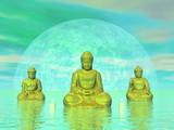 Golden buddhas - 3D render