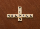 Crossword puzzle with words Helpful Tips. Travel guide concept.
